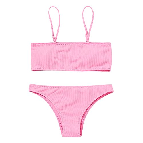 (ZAFUL Women's Two Piece Cami Strap Solid Color Bandeau Ribbed Swimsuit Bikini Set (Pink L))