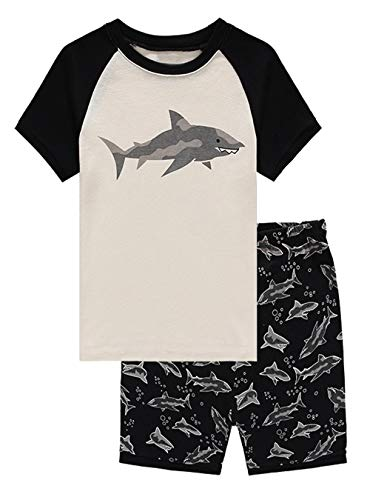 Family Feeling Shark Big Boys Shorts Set Pajamas 100% Cotton Sleepwear Toddler Kids Size 8 Black/White