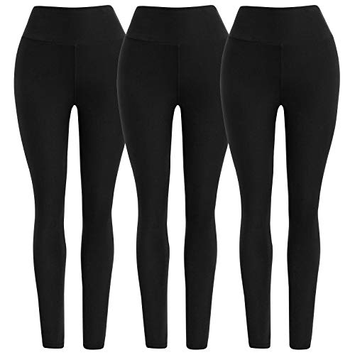 Ultra Soft High Waist Solid Seamless Compression Fashion Ankle Leggings for Women Pack of 3 Color Black Size XS-M