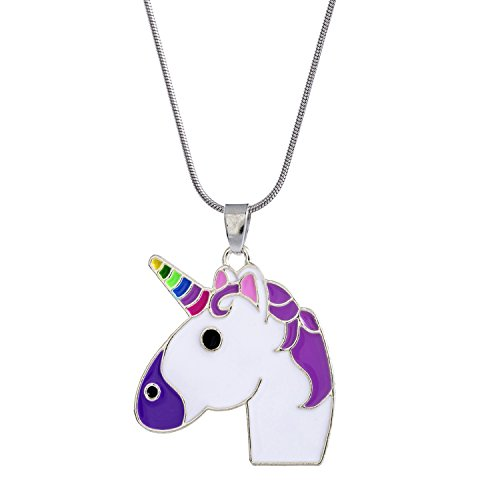 Vinjewelry Rainbow Unicorn Pendant Cute Necklace Gift for Little Girl Unicorn Art Multi-Color Jewelry Kids Birthday Gifts ()
