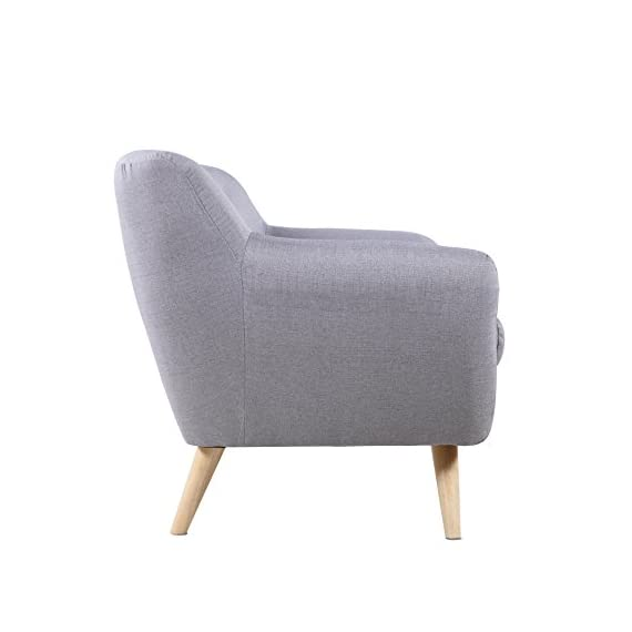Mid-Century Modern Linen Fabric Sofa, Loveseat in Colors Light Grey, Polo Blue, Sky Blue, Yellow and Red (Light Grey, 3 Seater) -  - sofas-couches, living-room-furniture, living-room - 41HRfAv%2B37L. SS570  -