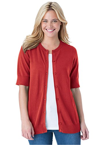 Womens Elbow Sleeve Classic Cardigan Sweater