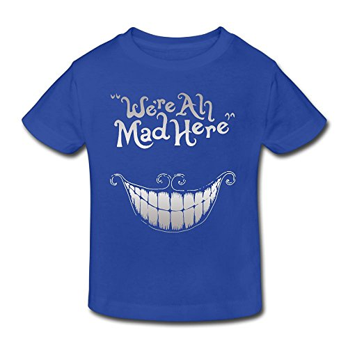 Halloween We Are Mad Here Fashion Toddler Short Sleeve Shirt -gift For Kids RoyalBlue 5-6 (Cool Halloween Poster Ideas)