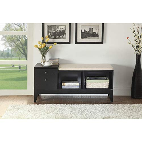 Benzara BM185375 Modern Wooden Bench with Storage, Black