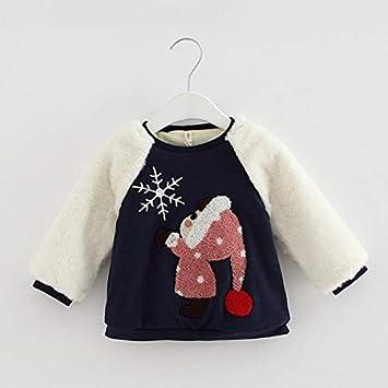 Cartoon Casual Sleeve Warm Kids Girls Sweater Winter Long Tops Round Toddler