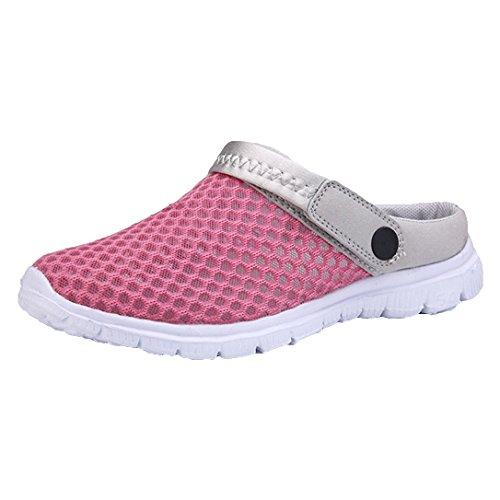Occasionnels Hibote Respirant Plage Mesh Légères Rose Chaussons Air Plage Chaussures Slip Chaussures de Net Unisexe Sports Évider On Sandales Plein Rouge Femmes Sandales Hommes Jardin 6twqr16