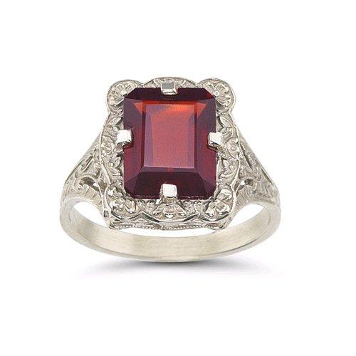 Victorian Emerald-Cut Garnet Ring in .925 Sterling ()