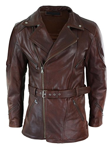 (Infinity Mens Cross Zip Belted Timber Brown 3/4 Motorcycle Biker Long Leather Jacket CE Armour tan-Brown(Armour) l)