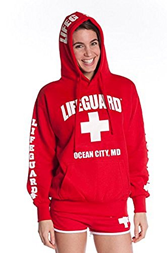 LIFEGUARD Official Ladies Red Hoodie Ocean City - Party City Lifeguard