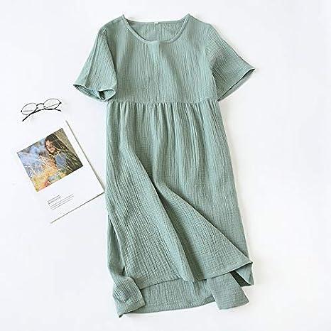 Albornoz Pijamas Mujer crepé de verano de manga corta de lado ...