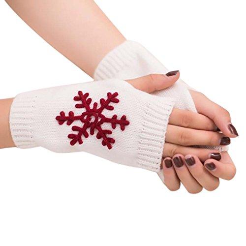 (Boomboom Winter Gloves, Christmas Winter Warm Women Girl Knitted Fingerless Arm Gloves Mittens (White))