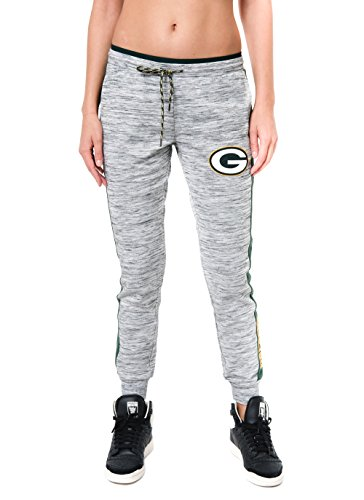 (NFL Green Bay Packers Women's Jogger Pants Active Basic Fleece Sweatpants, Medium, Gray)