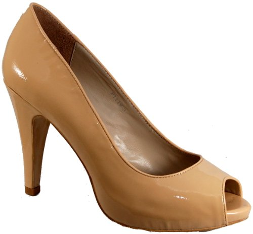high toe heel By Punto and shoe court leather Bene nude open patent in Gorgeous colour ECaqAA