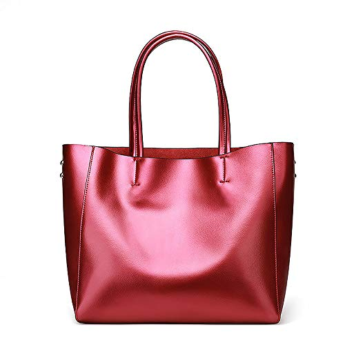 (Anynow Luxurious Women's Genuine Leather Handbag Fashion Cowhide Shoulder Bag Ladies Tote Bag (Rose Red))