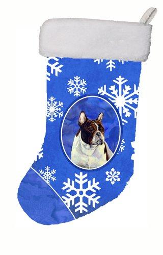Carolines Treasures LH9292-CS French Bulldog Winter Snowflakes Holiday Christmas Stocking 11 x 18 Multicolor