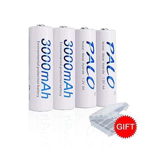 (PALO 4 Packs AA Rechargeable Batteries 3000mAh UL Certified Ni-MH Eco-Friendly Cel)