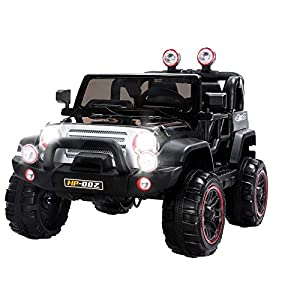Uenjoy Jeeps Ride on Cars 12V Children's Electric Cars with Remote Control Head Lights Model HP-002 Black