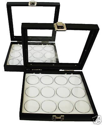 - 2-12 Gem Jar Glass Lid White Insert Jewelry Display