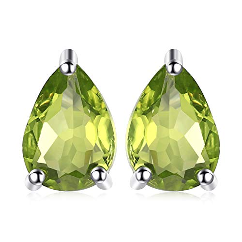 (JewelryPalace Birthstone Gemstones 2ct Natural Peridot Stud Earrings For Women 925 Sterling Silver Stud Earrings For Girls Pear Cut)