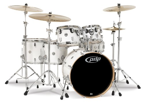 Pacific Drums PDCM2216PW 6-Piece Drumset with Chrome Hardware - Pearlescent White ()