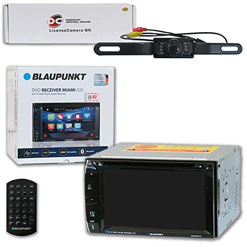 Blaupunkt Car Audio Double DIn 2DIN 6.2 Touchscreen DVD MP3 CD Stereo Bluetooth + Remote with DiscountCentralOnline HL09 Waterproof Nightvision Back-up Camera (Blaupunkt Car Audio)