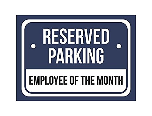 CR Pix Reserved Parking Employees of The Month Print Blue Black Notice Parking Graphic Small Sticker Sign for Business Wall Window Any Smooth Surface