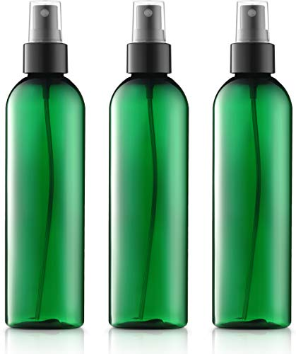 (Green Plastic Spray Bottles, 8 ounce (3 Pack), Fine Mist (black), Cosmo Round, BPA Free PETE1)
