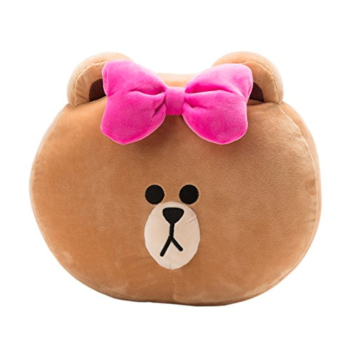 LINE FRIENDS Pink Ribbon Choco Cushion One Size Brown