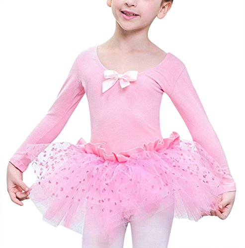 Little Girls Ballet Dance Dress Bowknot Tutu Skirt Long Sleeve Gymnastics Leotard