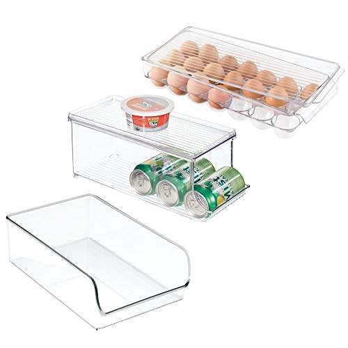 mDesign Plastic Kitchen Pantry, Freezer Storage Organizer Bin Combo for Fridge, Freezer, Pantry - Includes Covered 21-Egg Holder, Soda Can Dispenser with Lid, Large Low Front Bin, Set of 3 - Clear (Clear Soda Can Holder)