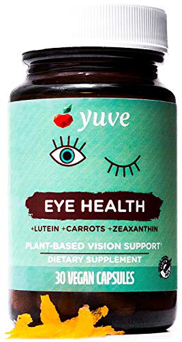 Yuve Natural Lutein 20mg Vitamin Supplement - Benefits for Dry Eyes - Reduce Eye Strain & Fatigue - Vegan, Non-GMO, Gluten-Free - Memory, Brain and Focus Booster - Lutemax 2020-30 Veggie Caps