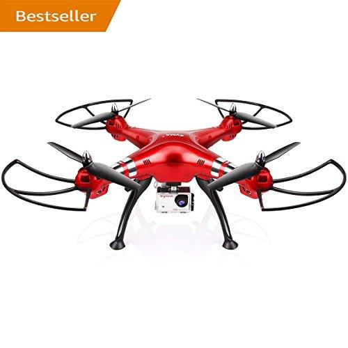 LENRUE Syma X8HG Drone New Altitude Hold Mode Headless 3D Flips RC Quadcopter con Cámara De 8MP Roja