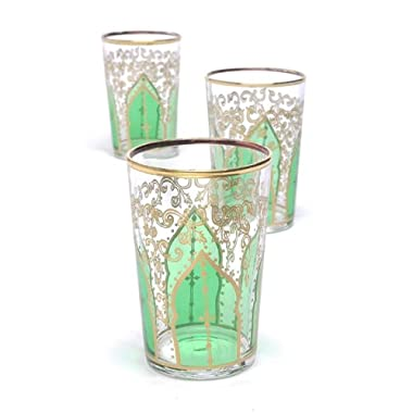 Casablanca Market Moroccan Tamansour Glasses, 4-Inch by 2.5-Inch, Green, Set of 6