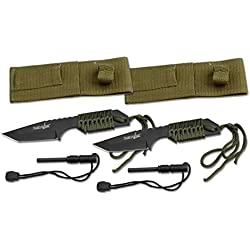 """Survivor HK-106320-2 HK-106320 Series Fixed Blade Outdoor Knife, Tanto Blade, Cord-Wrapped Handle, 7"""" Overall, Green (Pack of 2)"""