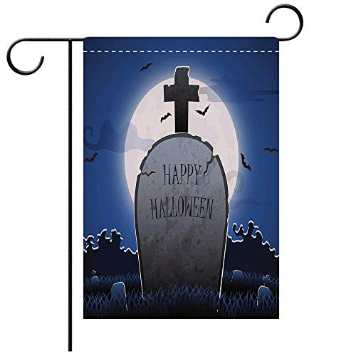 BEICICI Double Sided Premium Garden Flag Old Gravestone at Night with Happy Halloween Word in Cemetery Decorative Deck, Patio, Porch, Balcony Backyard, Garden or Lawn -