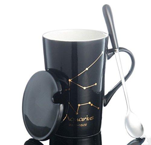 Handmade Coffee Cup Elegant Tea Cup and Saucer Coffee Cup Twelve constellations Theme Romantic Creative Present for Wedding/Christmas/ Birthday gift (Aquarius)