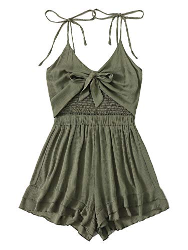 Cami Front Open - MAKEMECHIC Women's Sleeveless Solid Color Twist Knot Front High Waist Cami Romper Jumpsuit Green Small