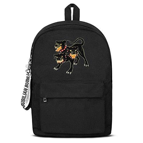 Three Fire Headed Dog Unisex Canvas Backpack Custom Satchel College Backpack for Girls Boys -
