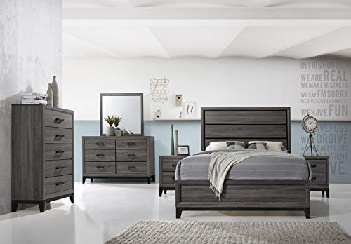 (Kings Brand Furniture - Ambroise 6-Piece Queen Size Bedroom Set, Grey/Black. Bed, Dresser, Mirror, Chest & 2 Night)