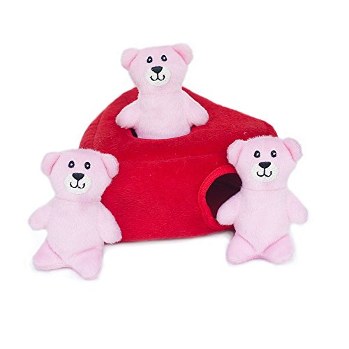 - ZippyPaws - Holiday Burrow, Interactive Squeaky Hide and Seek Plush Dog Toy - Heart 'n Bears