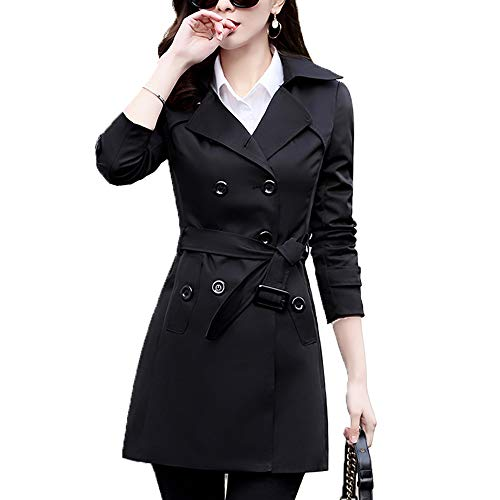 Farvalue Women's Double-Breasted Trench Coat with Belt (Black, ()