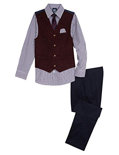 Nautica Boys' Big 4-Piece Formal Dresswear Vest Set, Bright Burgundy/red, 14]()