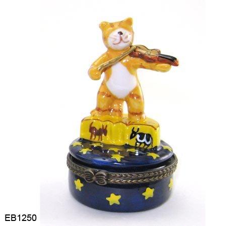 Porcelain Cat (Porcelain Hinged Trinket Box Cat Playing Fiddle)