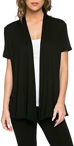 Pastel by Vivienne Women's Short Sleeve Open Front Vest (10+ Colors / S-3XL)