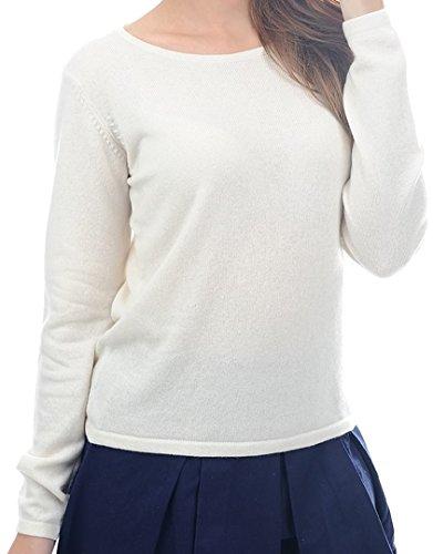 Balldiri 100% Cashmere Kaschmir Damen Pullover Rundhals 2-fädig ecru S