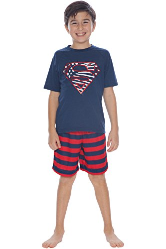 DC Comics Boys' Big Superman Super Freedom Pajama Short Set, Blue 10/12 -