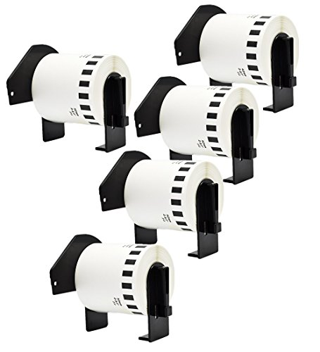 Brother White Film - 5Rolls Continuous Paper Film Label Tape Brother Compatible DK2212 62mmx15.2m(2-3/7x50') Black on White with DK Labels white Black Non-Detachable Cartridge