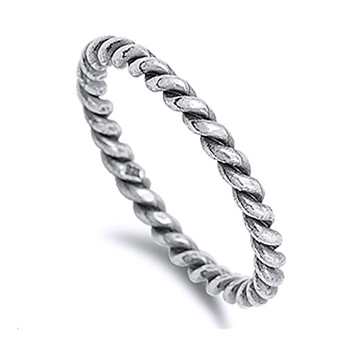 Sterling Silver Braided Rope Design Oxidized Finished Plain Wedding Band ( Size 4 to 10)