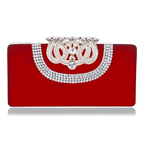 ROSSO sera moda banchetto mano Rosso a borsa da borsa da da a donna colore sera da mano camoscio nuovo Borsa in Borsa Vola borsa BqZzwCg
