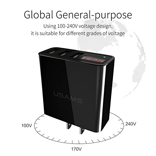 USB Wall Charger, USAMS 3-Port USB Phone Charger with Smart LED Display Travel Power Adapter for iPhone X/8/7/7P/6/6s/6s Plus, iPad, Samsung Galaxy S8/ S8 Plus, HTC,LG,Nexus and More chic